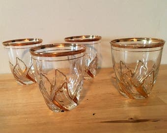 Hollywood Regency Glasses with Wing Design // 1960s Barware // Mad Men Barware