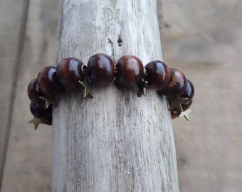 Wooden Beads Bracelet natural bronze charms