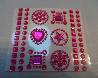 54 half adhesive pearls, cabochons, different shapes and sizes embellishment Fuchsia rhinestones