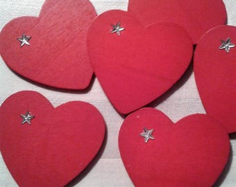 Red wooden hearts set of 5 hearts painted both sides with a Silver Star on the side for
