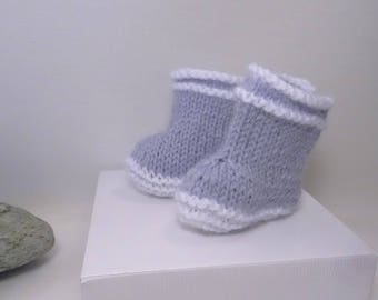 doll's rain boots, knitted wool