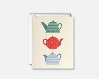 Teapots Mini Notecard pk of 5 cards by James Ellis