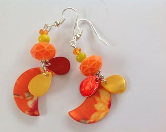 Earrings silver plated faceted orange, yellow and Burgundy Pearl pucks, half moon floral yellow
