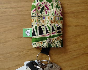 Key ring Bell cotton Green Black and gold