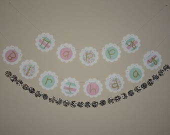 Happy Birthday Banner and Garland- Pink, Gold, Mint and White