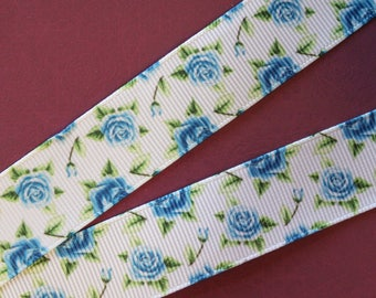 pretty Blue Ribbon with blue flowers