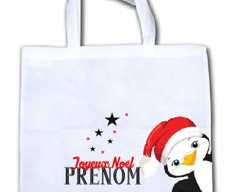 "PERSONALIZED tote bag/tote bag ""Little pinguoin Christmas"""