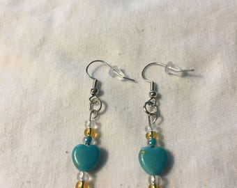 Heart and seed bead earrings