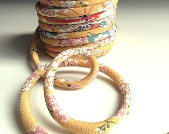 cord, 8mm, Chirimen Japanese cherry blossoms, mustard yellow (C3004-8)
