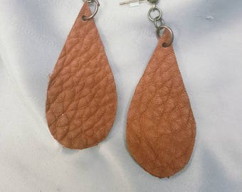 Teardrop Leather Earrings