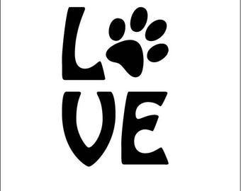 Stickers love dog or cat vinyl sticker love deco pc, Tablet, deco stickers