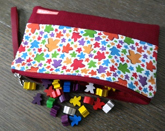 Two Pips: Meeple Print Pouch, Wristlet, Clutch, Dice Bag