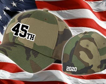 Trump 2020 Hat - 45th President Fitted Hat - Trump 45 Hat - Embroidered Camo Trump Hat - Fitted MAGA Hat - Embroidered 45th Cap