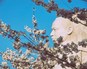 Martin Luther King Jr. Memorial - Fine Art Photograph - Wall Art - Cherry Blossoms - Washington DC Art - Color Photograph