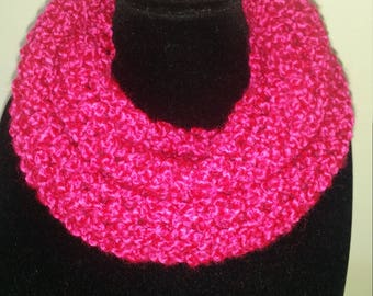 Lovely pink textured wool scarf. Handmade with love. Soft and lightweight. Infinity figure of 8 cowl.