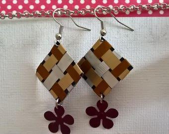 Checkerboard Nespresso autumn earrings