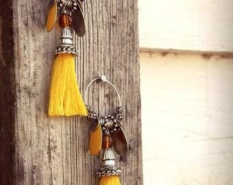 Earrings ears hoops dangle silver yellow charms pendants Pompom yellow Bohemian Gypsy Boho Gypset