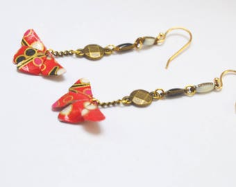 Origami butterflies Yuki 雪. gold plated lotus earrings
