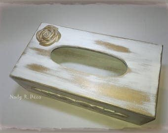 Chalk white and gold - tissue box refillable