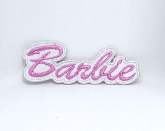 899# BARBIE Pink on White Embroidered Iron on sew on Patch