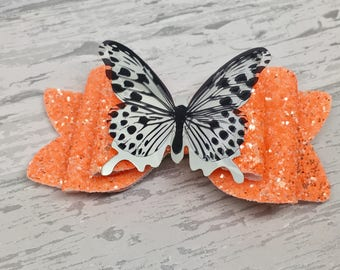 Striking Neon pink, yellow, orange and green Glitter Bow with Butterfly Embellishment