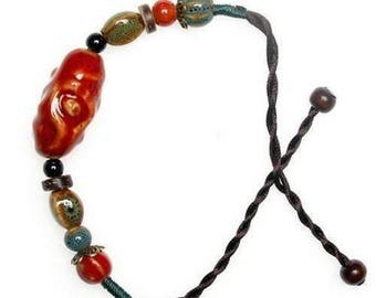 Red Ceramic And Hemp Cord Adjustable Bracelet