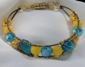 Beauty bead wired bracelet