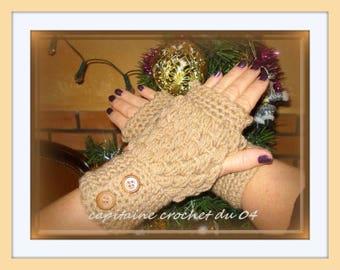 fingerless gloves, fingerless gloves, mitten, Gauntlet, women beige hand crochet by Captain Hook from 04