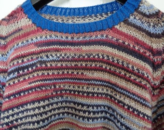 Sweater, beautiful Italian Merino wool, seamless handcrafted in Adriafil Knitcol - Shade 73 Gercault Fancy SIZE 42""