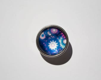 Snap blue floral 4 multicolored 18 mm