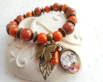 """bracelet perles et cabochon verre 18X13 mm vintage """"bingo love"""" bronze, orange, marron, perles, papillons, feuilles, breloques"""