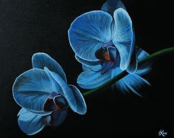 Tableau Peinture acrylique fleurs orchidées bleues style réaliste