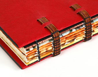 Blank Sketchbook with Red Flax Paper Covers