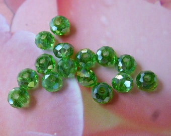 Crystal AB beads faceted abacus 3 x 4 mm set of 25 light green