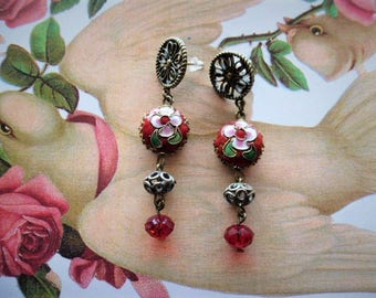 dream Orient red and bronze cloisonne earrings mounted on studs