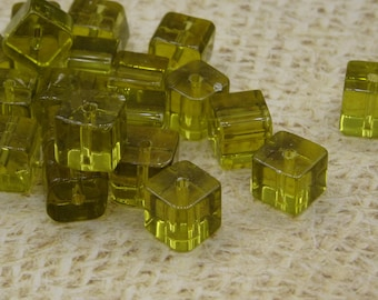 bright yellow handmade square glass 8mm 20 beads