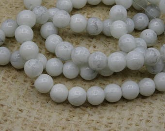 20 white marbled glass beads 8mm round
