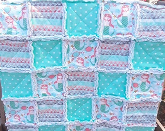 Mermaid Adventure, pink and mint baby girl's rag quilt with fleece and flannel