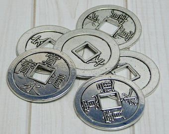 Chinese Coin Pendants - Ancient Chinese Coin - Replica Coins - Silver Pendants - Asian Coin Pendant- 6pcs(B580)
