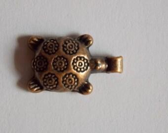 Pretty copper metal turtle charm