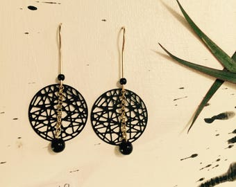 Black/gold earrings