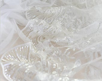 Beaded tulle fabric Etsy