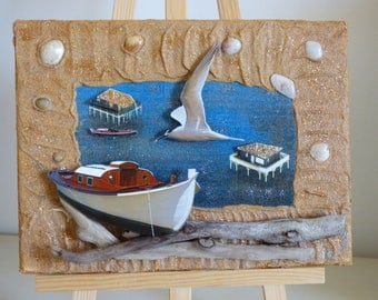 mixed media painting, 3D collage cabins tchanquees, Navy, birthday decoration, deco lounge, entree.deco Driftwood
