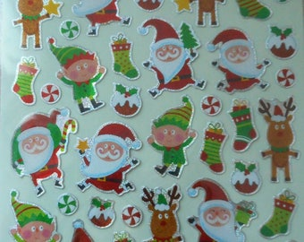 Stickers Christmas stickers Santa Claus, reindeer, elves, balls and boots (by 48 stickers).
