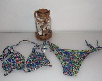 Multicolor print Brazilian bikini