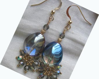 """GOLD FILLED 14KT """"water and its Shimmers"""" earrings"""
