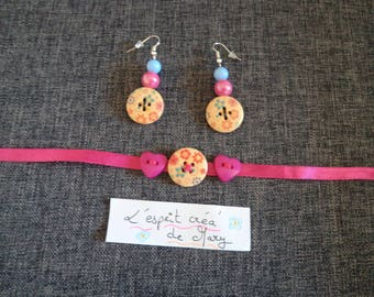 set: bracelet and earrings in pink floral design buttons ideal for Valentines