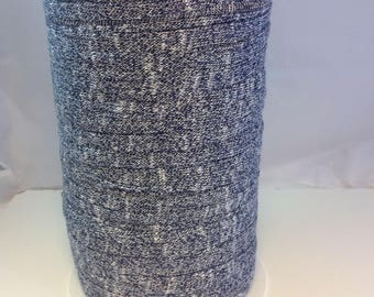 Large spool of Trapilho cotton stretch Navy Heather white