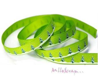 "1 m Christmas scrapbooking cardmaking 6 green ""trees"" printed Ribbon. *"
