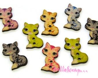 Lot de 8 boutons bois chats décorés embellissement scrapbooking carte.*